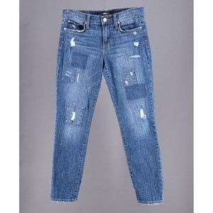 Straight Ankle Distressed Patch Jeans Size 27